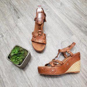 Aldo Wedge Espadrille Sandals Embossed Leather 41